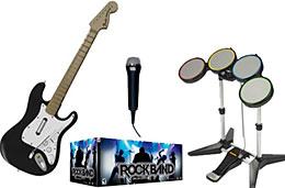Rock Band (guitarra, micrófono y batería) para PS2, PS3, Wii y XBox 360 rebajado por tiempo limitado, válido hasta 8-Abril-2009