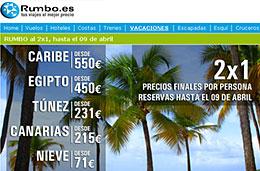 Ofertas de Viajes 2x1 a Caribe, Egipto, Túnez, Canarias y destinos de nieve con estancias de 7 noches en los portales Rumbo y Viajar.com