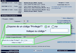 Código privilegio Air France <li></li> <p>