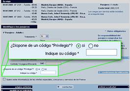 Código privilegio Air France <li></li> <p>