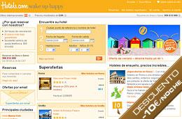 Codigo promocional Hotels.com para obtener un 10€ de descuento por cada noche en hoteles de 3* o de categoría superior