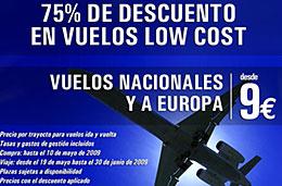 Ofertas de vuelos nacionales y a Europa con un 75% de descuento y precios desde los 9€
