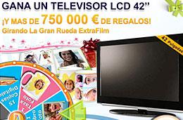 Gana un televisor LCD 42 y más de 750.000€ de regalos jugando a La Gran Rueda Extrafilm, válido hasta 31-Julio-2009