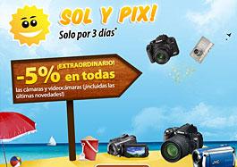 5% de descuento con el código promocional Pixmania para videocámaras y cámaras digitales