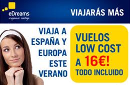 Ofertas de vuelos low cost a 16€ precio final para volar este verano en eDreams, válido hasta 8-Junio-2009