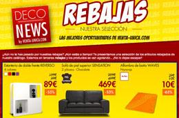 Rebajas de verano en Venta-Única con descuentos de hasta el 85% en sofás, muebles, decoración y mucho más