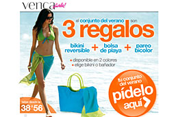 Conjunto de verano gratis en Venca (Bikini reversible/bañador bicolor, bolsa de playa y pareo bicolor) pagando únicamente los gastos de envío