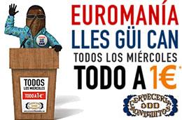 Promoción 'EuroManía' en la cadena 100 Montaditos con todo a 1€ todos los miércoles: Lles Güi Can!