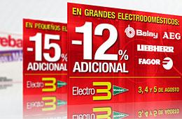 Rebajas El Corte Ingles con un 12% y 15% de descuentos adicionales en grandes y pequeños electrodomésticos respectivamente, válido hasta 5-Agosto-2009