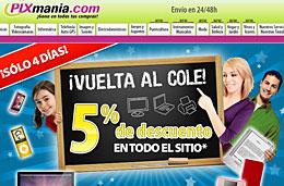Codigos promocionales Pixmania y codigos descuento para tener un descuento adicional del 5% en Pixmania.com en Septiembre 2009