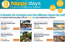 Ofertas de hoteles con descuentos de hasta el 50% gracias a los Happy Days de Barceló Hoteles