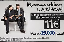 Ofertas de vuelos por 11€ en Spanair con 35.000 plazas disponibles y sólo durante el día de hoy 11-Septiembre-2009