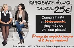 Ofertas de vuelos desde 25€ en Spanair con 250.000 plazas disponibles y con plazo ampliado hasta 6-Septiembre-2009