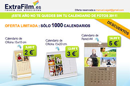 Codigo promocional ExtraFilm Enero 2010: Calendarios fotográficos desde 2€ con el codigo descuento PACKCAL3