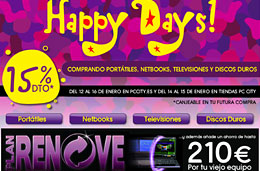 Ofertas en PC City con sus Happy Days