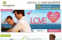 Codigo promocional Yves Rocher de -5€ y rebajas Happy Love con descuentos de hasta el 40%