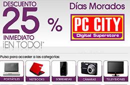 Dias Morados en PC City con un descuento del 25% inmediato en todos sus productos de tecnología