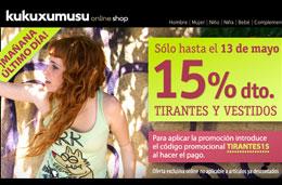 Codigo promocional en Kukuxumusu para tener un 15% de descuento en tirantes y vestidos