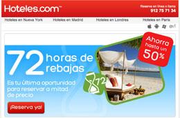 Rebajas en Hoteles.com durante 72h con descuentos de hasta el 50% en hoteles de todo el mundo