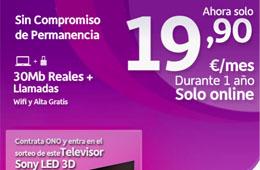 Con Ono 30Mb reales mas llamadas desde 19,90€