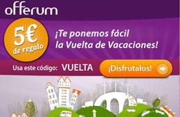 Código descuento de Offerum para tener -5€ de descuento en cualquier compra superior a 15€