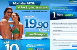 Ofertas en Movistar ADSL con 10Mb+llamadas, alta de linea, router gratis y 12 noches de hotel gratis