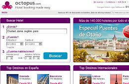 Promocion Octopus con descuentos de hasta el -50% en hoteles para los Puentes de Otoño