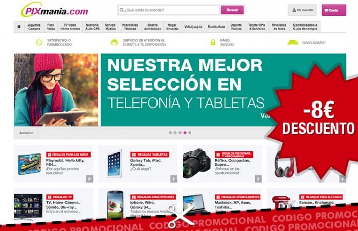 Nuevo codigo promocional para Pixmania.com con el que tener 8€ de descuento adicionales
