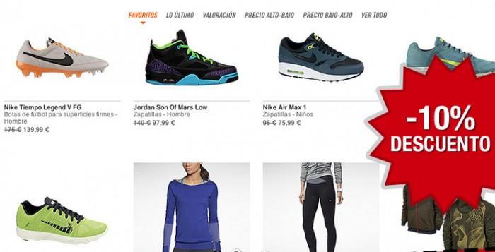 Nuevo código promocional en Nike Store con un descuento del 10% sobre artículos rebajados