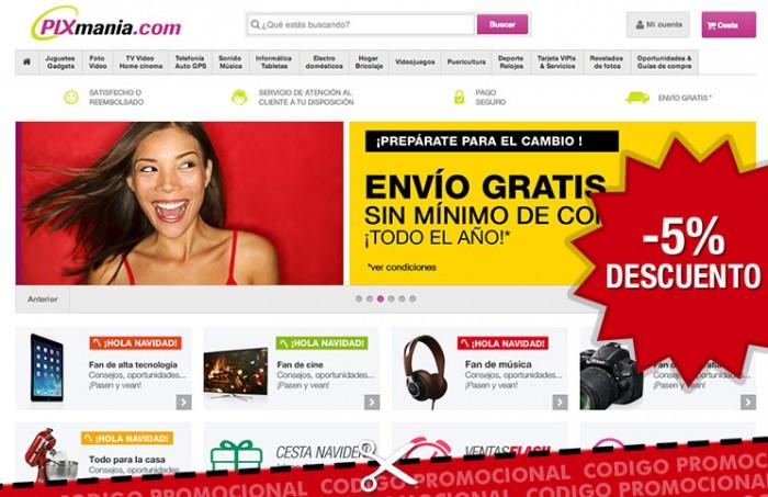 Codigo promocional en Pixmania de un -5% de descuento en informática y telefonía por tiempo muy limitado