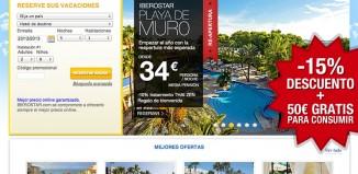 Codigos promocionales para Iberostar Hoteles de un 15% de descuento y de 50€ gratis en consumiciones