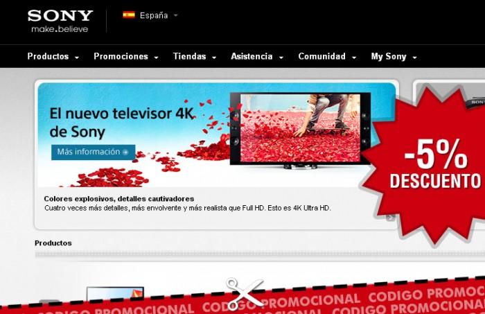 Codigo promocional de Sony Store con un 5% de descuento en toda la tienda