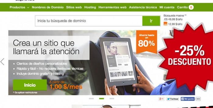 Codigo promocional en GoDaddy para tener un 25% de descuento adicional en todo