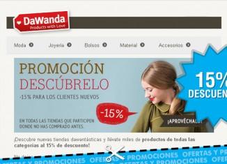 Promocion de Dawanda con un 15% de descuento para nuevos clientes