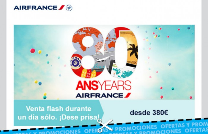 80º Aniversario de Air France con ventas flash para vuelos internacionales