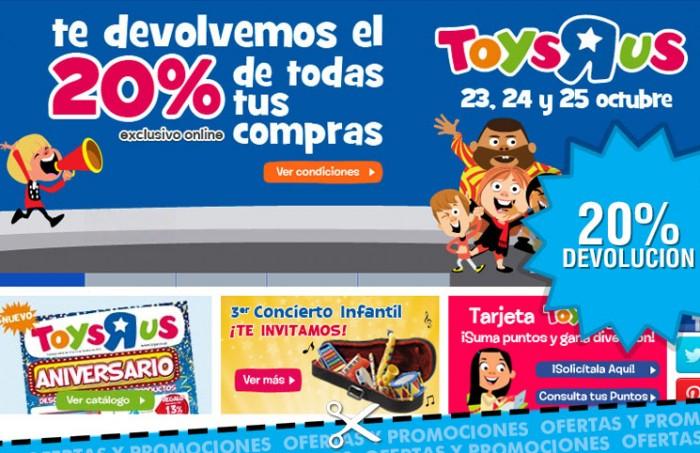 20% de devolucion en compras en Toys R Us