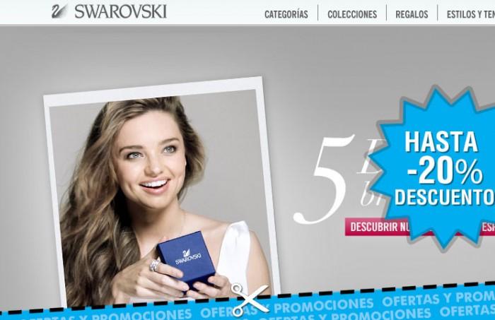 Promocion de descuento de Swarovski durante el black Friday con -20%