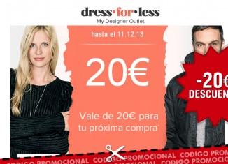 Cupon descuento de Dress-for-less con un ahorro de 20€ por pedido