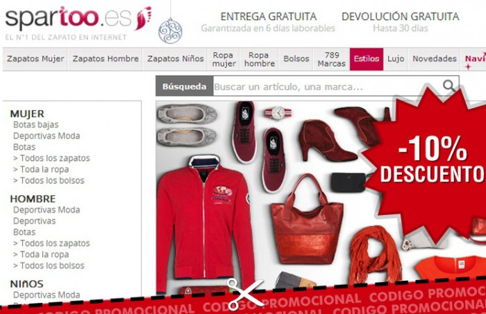 Nuevo código promocional con un 10% de descuento en la tienda de zapatos y accesorios Spartoo