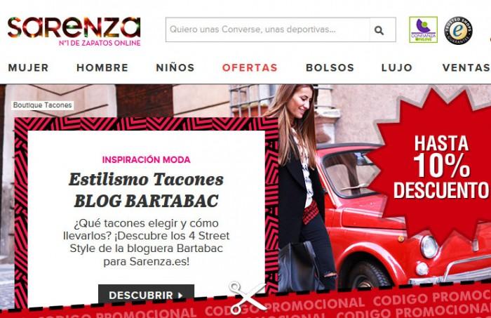 Codigos descuentos en Sarenza para tener un 8% o un 10% en su tienda de zapatos online
