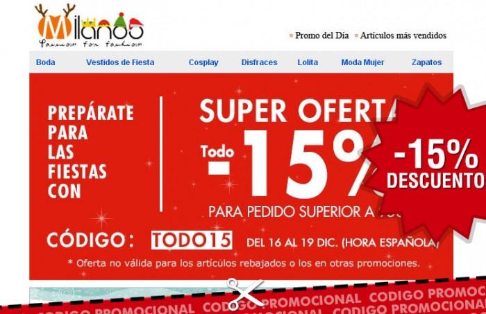 Cupon descuento de Milanoo con un ahorro del 15% en toda su web de moda