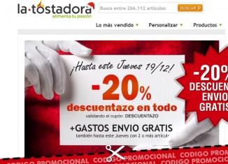 Codigo promocional de La Tostadora con -20% en camisetas y envios gratis