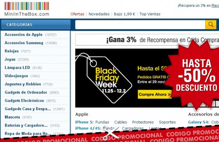Cyber Monday en Mini in the box con descuentos del 50% y más y un codigo promocional