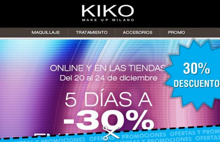 30% de descuento en Kiko Cosmetics en todos sus productos de maquillaje