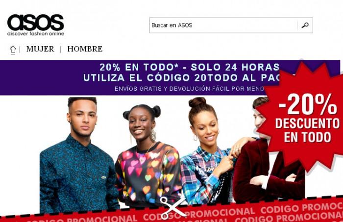 Codigo promocional de la tienda de moda Asos con un 20% en todo