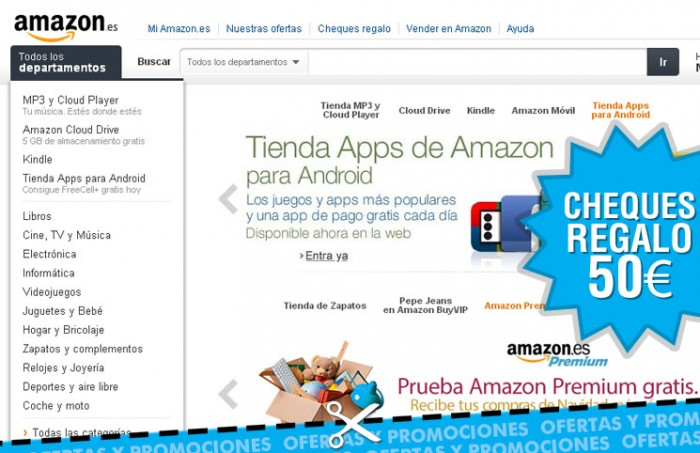 Cheque regalo en Amazon ES de hasta 50€ por compra