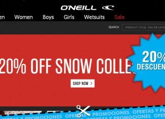 Descuentos del 20% en la tienda Oneill para la ropa de moda para la nieve