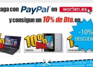 Worten y Paypal nos ofrece un descuento de 10% en diversos productos
