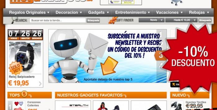Código promocional del 10% para la tienda de regalos originales MegaGadgets en exclusiva para PromoCodigos