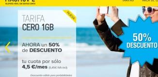 Descuento del 50% en MásMóvil en Tarifa Cero de 1GB